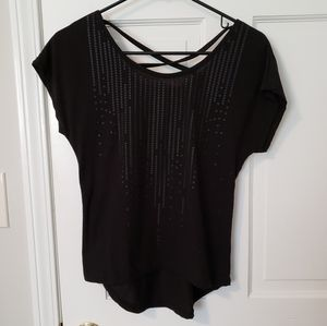 Flowy black top with matte pattern detailing